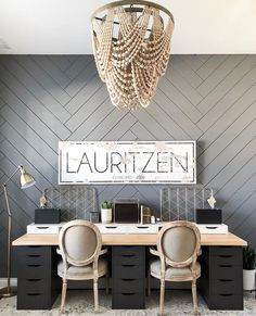 Everything You Need to Know to Make A Herringbone Accent Wall! - The Decor Mama Our Faux Farmhouse ◊ Accent Wall ◊ Decor ◊ DIY ◊ FarmhouseHoney Built Home Office Space, Home Office Design, Home Office Decor, Office Spaces, Office Ideas, Accent Walls In Living Room, Accent Wall Bedroom, Scandinavian Style, Herringbone Wall