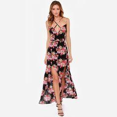 Floral Spaghetti Strap Split Chiffon Maxi Dress