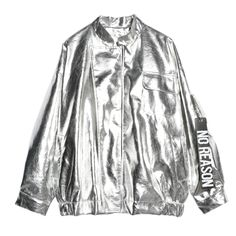 7mang 2017 autumn women street loose metal color light purple silver stand neck coat punk party fashion jacket-in Basic Jackets from Women's Clothing & Accessories on Aliexpress.com | Alibaba Group