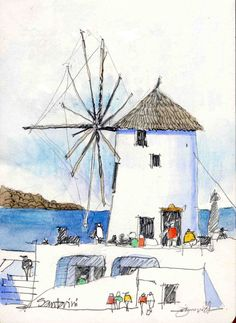 santorini windmill | Pencil and watercolor, 5.5in. x 8in. | James Richards | Flickr