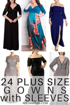 24 Plus Size Long Wedding Guest Dresses {with Sleeves} - Alexa Webb Gowns For Plus Size Women, Plus Size Long Dresses, Plus Size Fashion For Women, Plus Size Outfits, Cute Wedding Guest Dresses, Formal Dresses For Weddings, Formal Dresses For Women, Wedding Gowns, Wedding Wear