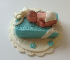 TIFFANY BLUE BABY Shower Cake Topper fondant edible cake decoration personalized baby in gift box and bow. $37.00, via Etsy.