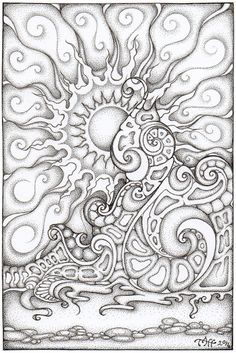 Onewave by TapWaterTaffy @ deviantART Abstract Doodle Zentangle Coloring pages colouring adult detailed advanced printable Kleuren voor volwassenen coloriage pour adulte anti-stress