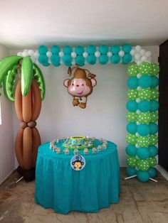 Monkey balloons party background, background ideas, shower party, baby shower parties, first Baby Shower Balloons, Baby Shower Parties, Baby Shower Themes, Baby Boy Shower, Shower Party, Deco Ballon, Monkey Birthday Parties, Birthday Ideas, Balloon Crafts
