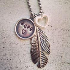 Feather Stamped Charm Necklace, $28.00