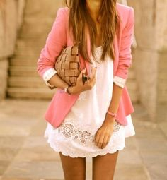 Loving the pastel pink blazer