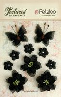 1201-209 - Burlap Blossoms x 10 - Black