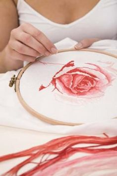 Cross-stitch is a form of counted thread embroidery. Cross-stitch is a form of counted thread embroidery. Cross Stitch Love, Cross Stitch Flowers, Cross Stitch Charts, Cross Stitch Designs, Cross Stitch Patterns, Ribbon Embroidery, Cross Stitch Embroidery, Embroidery Patterns, Cross Stitching