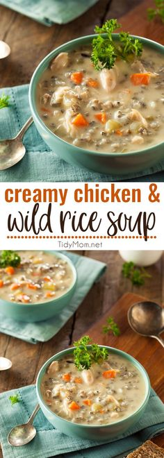 This Panera Copycat Creamy Chicken & Wild Rice Soup continues to be a family favorite. It's delicious and hearty, perfect for cold winter nights.  Print the full recipe at TidyMom.net