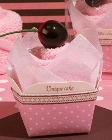 1 Strawberry Heart Towel Cupcake Pink Wedding Favor Cakes Bridal Shower Gift