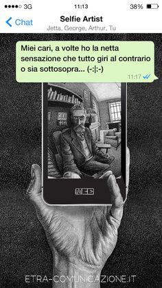 Selfie artist dedicato a  Maurits Cornelis Escher (Leeuwarden, 17 giugno 1898 – Laren, 27 marzo 1972) #selfie #arte #selfieartist #autoritratto #autoritratti #escher #chat #whatsapp #social #socialnetwork #fotografia