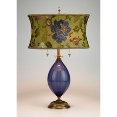 """""""Iris"""" Mixed-Media Table Lamp Created by Caryn Kinzig and Susan Kinzig This lamp is comprised of a periwinkle-blue blown glass base and a round shade with rich green dupioni, embroidered with floral design. Iris, Media Table, Lampe Decoration, Unique Lamps, Bedroom Lamps, Vintage Lamps, Lamp Shades, Lamp Light, Bulb"""