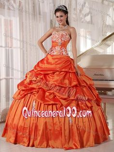 Appliqued Orange Red Taffeta Dresses for A Quince with Pick ups