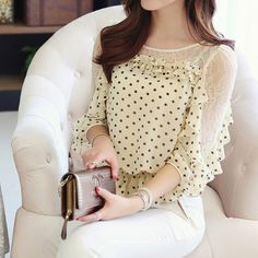Chic Style Round Collar Lace Splicing Polka Dot Print Chiffon Women's Blouse Chic Style Round Collar Lace Splicing Polka Dot Print Chiffon, Chiffon Shirt, Lace Chiffon, Lace Dress, Top Secret, Mode Glamour, Mein Style, Sammy Dress, Shirt Blouses