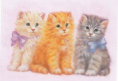 CLEARANCE Kids Scrapbooking 3 Kitty Cats Bows Bell STICKER Decal Animals SALE #Handmade