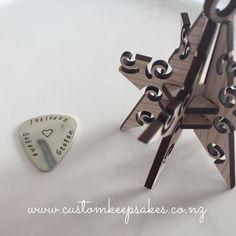 Sterling silver custom stamped guitar picks.  Shop via the link in my bio #customkeepsakesnz #nnzmo #networknz #bizzy_shopping_nz #music #nzmusic #nzguitar #nzgifte #nzmade