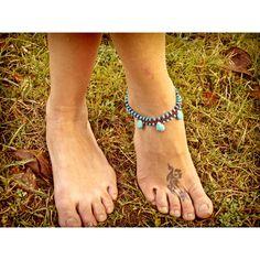 sky blue Hippie macrame Anklet with Howlite by AkashasCreations ($25) via Polyvore
