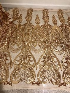 "Gold 4way Stretch Mesh w/Gold Sequins Lace Fabric 50"" Width Sold By the Yard"