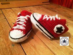 Tuto crochet : Converse chaussures bébé 1 /zapatitos all stars crochet 1