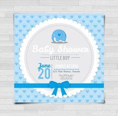 Baby Shower Invitation Elephant - Blue or Pink - 10PK