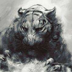 by Nikolai Tudi Le Cri, Magazine Art, Predator, Comic Art, Contemporary Art, Digital Art, Lion Sculpture, Creatures, Statue