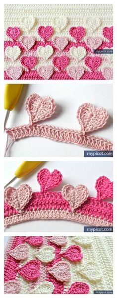 Crochet Motif Hearts Multicolored Crochet Stitch Free Pattern - If you are looking to make something just a little bit different. Here is a awesome Multicolored Crochet Heart Stitch Free Patterns. Crochet Stitches Free, Diy Crochet, Crochet Crafts, Crochet Borders, Crochet Projects, Crochet Tutorials, Unique Crochet, Crochet Videos, Crochet Round