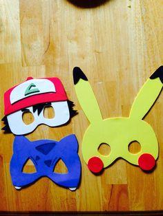 DIY Pokémon masks. Bulbasaur, Pikachu, and Ash. Made with craft foam, hot glue. Make templates first. Glue Elastic on the back.