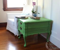 Antibes Green Side Table (named Margaux) painted interior drawer in Country Grey Chalk Paint® with Rifle Paper.