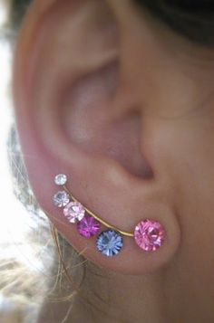 Ear Sweep Wrap - Cuff Earring with Swarovsky - Gold Filled - PINK | blucky - Jewelry on ArtFire