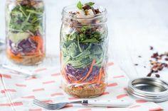 Mason Jar Salad Recipe - Paleo and Gluten-Free Thai Shrimp Salad with spicy almond dressing