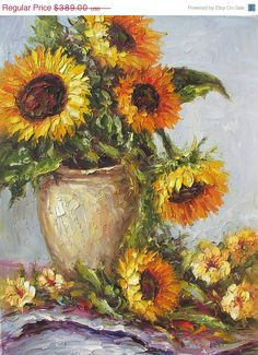ON SALE MADE to Order Original Oil Painting Palette Knife Yellow Sunflowers Vase Bouquet Textured Colorful Golden Handmade home Art by March