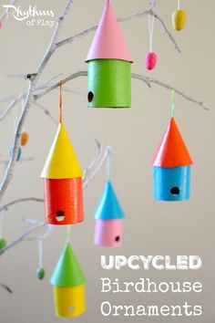 If you love making trash into a treasure you will love this simple upcycled craft for kids and adults. Make these upcycled birdhouse ornaments out of cardboard tubes and boxes from your recycle bin! They look lovely on spring tree's, Easter tree's, and would make a beautiful spring garland. Kids Craft | Spring Craft | Easter Craft