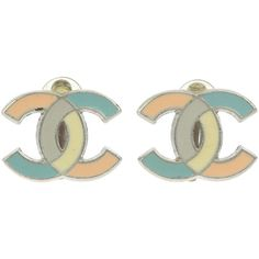 Pre-owned Chanel Vintage Multicolor Pastel Mosaic CC Earrings ($195) ❤ liked on Polyvore featuring jewelry, earrings, multi color earrings, vintage earrings, chanel, mosaic earrings and clip earrings