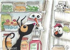 ACEO Original Watercolor Folk Art Snowman Fridge Black Cat Frosty Pie Bird Crow | eBay