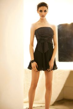 d398fe2aab Fashion Pleated Off the Shoulder Sleeveless Black Chiffon Mini Dresses  Wholesale Shoes