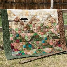Altitude: Easy Autumnal Mountains and Crow Throw Quilt Pattern