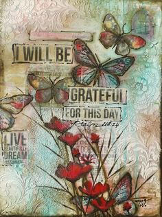 Mixed Media Canvas Tim Holtz Stencils, Donna Downey Stamps, Decoart Crackle Medium, Paper butterflies, Artwork by Tracey White 2015