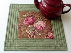 Floral Trivet - Quilted Trivet - Brown And Sage Green Trivet - Pink Roses Trivet…