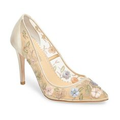 Women's Bella Belle Chloe Floral Embellished Pump (22.285 RUB) ❤ liked on Polyvore featuring shoes, pumps, multi silk, floral pattern shoes, embroidered shoes, beaded shoes, floral print shoes and flower print shoes