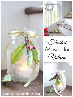 Frosted Mason Jar Votives