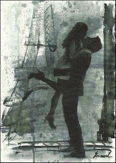 Print Art canvas best gift poster Ink Drawing Sketch Paris Eiffel Love Couple Kiss Hug Painting Illustration Autographed Emanuel Ologeanu