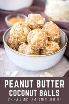 These Peanut Butter Coconut Balls  are everything you've ever wanted in a snack. They're sweet, full of flavor and take only minutes to make! Pack these beauties and take them with you to a park, #picnic or #camping trip. Kids love them too! -------- #peanutbutter #energyballs #snack #healthysnack #kidssnack #healthy #easy #glutenfree #energybites #coconut #backtoschool