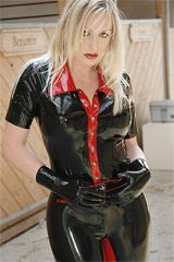 Tight Latex blouse with short sleeves - DBA2-K