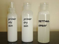 Beauty basics from Instructables.  Primers for different types of skin and setting spray.  Looks like ingredients in setting spray should also be able to turn eyeshadow into eyeliner.  -  @MalayaMai