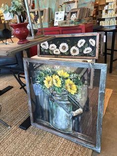 Items similar to Vintage milk jug with sunflowers on Etsy Old Windows Painted, Painted Window Screens, Painted Window Art, Painting On Glass Windows, Window Panes, Vintage Windows, Hand Painted, Window Screen Crafts, Sunflower Room