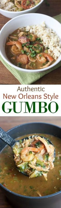 Authentic New Orleans Style Gumbo with vegetables, chicken, sausage, and shrimp! Served warm over rice. | tastesbetterfromscratch.com #recipe #sausage #chicken #easy