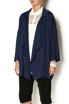 The ideal lightweight navy jacket for cool summer nights features a draped button front and 3/4 sleeves.   Navy Light Jacket by Hanger. Clothing - Jackets, Coats & Blazers - Jackets Utah