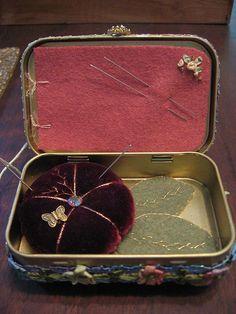 Inside of altoid tin pin cushion needle box | Flickr - Photo Sharing!