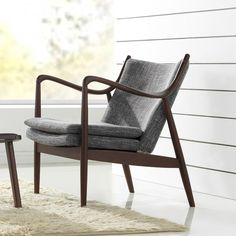 Diamond Mid-century modern grey fabric upholstered club chair with hand-stained wood base in walnut finishing Mid-Century modern club chair/arm chair 1950s style mid back chair Hand-stained wood base