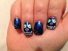 Seahawks nail art, sugar skull nail art #seahawks #sugarskulls